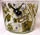 "Musical Yellow and Black Ice Bucket 4.25"" x 5 5/8"" Hazel Atlas Glass"