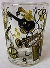 "Musical Old Fashioned Whiskey Tumbler 3 1/8"" Hazel Atlas Glass Company"