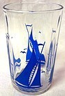 "Sailboat #2 Blue Swanky Swig 3.5"" Hazel Atlas Glass Company"