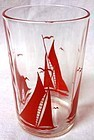 "Sailboat #2 Red 3.5"" Swanky Swig Hazel Atlas Glass Company"