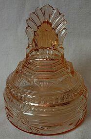 Pleated Fan Pink Art Deco Powder Jar