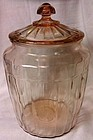 "Pillar Optic Pretzel Jar Pink 10.25"" Hocking Glass Company"