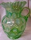Coin Spot Green Opalescent Pitcher Northwood Glass Company