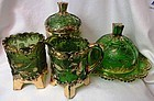Bohemian Green Creamer, Sugar & Lid, Spooner, & Butter U S Glass Co