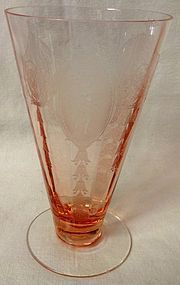 "Classic Pink Footed Tumbler 13 oz 6"" Ice Tea Tiffin Glass Company"