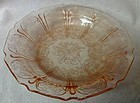 "Cherry Blossom Pink Flat Soup Bowl 7.75"" Jeannette Glass Company"