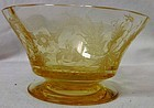 Cadena Mandarin Yellow Finder Bowl Footed Tiffin Glass Company