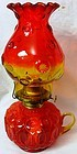 """Moon and Star Amberina Oil Lamp 12"""" with Fingerhold L E Smith Glass"""