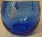 "Sailboat Ritz Blue Rolly Polly Tumbler 2.25"" 6 oz Hazel Atlas Glass"