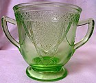"Georgian Green Sugar 4"" Federal Glass Company"