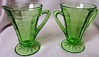 "Block Optic Green Creamer & Sugar 4.25"" Hocking Glass Company"