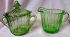 Sierra Green Creamer Sugar and Lid Jeannette Glass Company