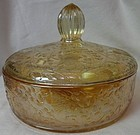 "Floragold Iridescent Candy with Lid 6.75"" Jeannette Glass Company"