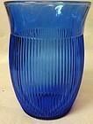 "Fine Rib Cobalt Water Tumbler 4"" 9 oz Hazel Atlas Glass Company"