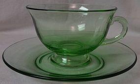 Pioneer Green Tea Cup & Saucer Fostoria Glass Company
