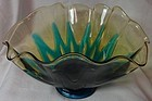 "Hawaiian Peacock Blue & Amber Bowl 8"" Ruffled Fostoria Glass Company"