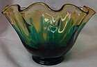 "Hawaiian Peacock Blue and Brown Bowl 8"" Deep Fostoria Glass Company"