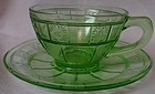 Doric Green Cup and Saucer Jeannette Glass Company