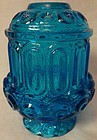 Moon and Star Blue Courting Lamp L E Smith Glass Company