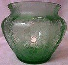 "Grape Green Brocade Vase 5"" Fostoria Glass Company"