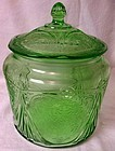 Royal Lace Green Cookie Jar and Lid Hazel Atlas Glass Company