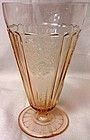 "Mayfair Pink Ice Tea Tumbler Footed 6.5"" 15 oz Hocking Glass Company"