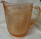 "Miss America Pink Pitcher No Ice Lip 8"" 65 oz Hocking Glass Company"
