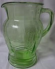 "Cameo Green Pitcher 8.5"" 56 oz Hocking Glass Company"