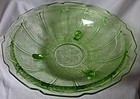 "Cherry Blossom Green Bowl 3 Legged 10.5"" Jeannette Glass Company"