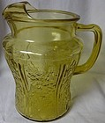 Sharon Amber Ice Lip Pitcher 80 oz Federal Glass Company