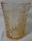 "Sharon Pink Thick Tumbler 4 1/8"" 9 oz Federal Glass Company"