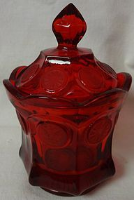 "Coin Red Candy & Lid 6"" Fostoria Glass Company"