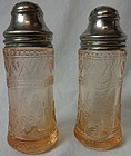 Patrician Pink Salt & Pepper Shakers Federal Glass Company