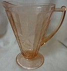"Floral Pink Pitcher 8"" 32 oz Cone Jeannette Glass Company"