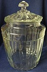 "Pillar Optic Crystal Pretzel Jar & Lid 10.25"" Hocking Glass Company"