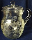 Rose Etched Crystal Pitcher & Lid 9.5""