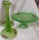 Low Footed Bowl with Pair Candlesticks Green Satin Enameled