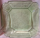 "Lorain Green Luncheon Plate 8 3/8"" Indiana Glass Company"