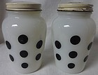 Polka Dot Black Salt & Pepper Shaker Fire King Anchor Hocking Glass