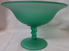 """Compote Green Satin Twist Stem 5"""" Tall Tiffin Glass Company"""