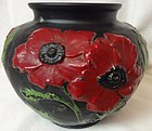 "Poppy Vase 5"" Black and Red Tiffin Glass Company"