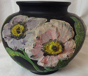 "Poppy Vase 5"" Black with Pink Corolene Tiffin Glass Company"