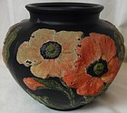 "Poppy Vase 5"" Black and Pink Light and Dark Corolene Tiffin Glass"