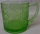 Cherry Blossom Green Mug 7 oz Jeannette Glass Company