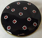"Maytime Black Enameled Powder Jar 4.25"" Imperial Glass Company"