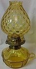 "Coin Amber Courting Oil Lamp 10"" Handled Fostoria Glass Company"