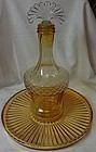 "Decanter Amber with Crystal Fan Stopper 11.25"" on Tray 11.25"""