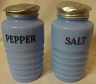 Round Salt and Pepper Shakers Delphite Jeannette Glass Company