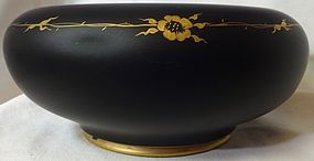 "Bowl Black Satin with Gold Flower Decoration 8.5"" Tiffin Glass Company"