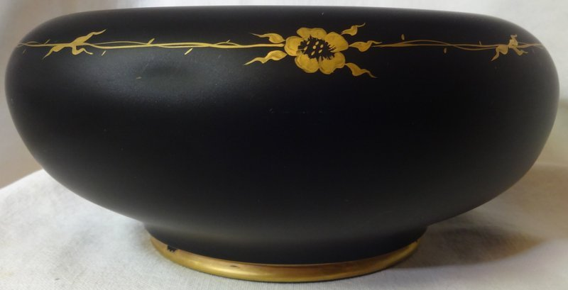 """Bowl Black Satin with Gold Flower Decoration 8.5"""" Tiffin Glass Company"""